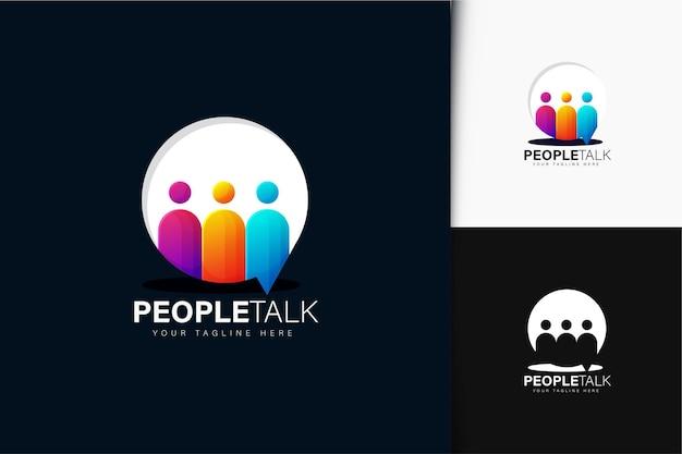 Kleurrijke gradiëntmensen praten over logo-ontwerp