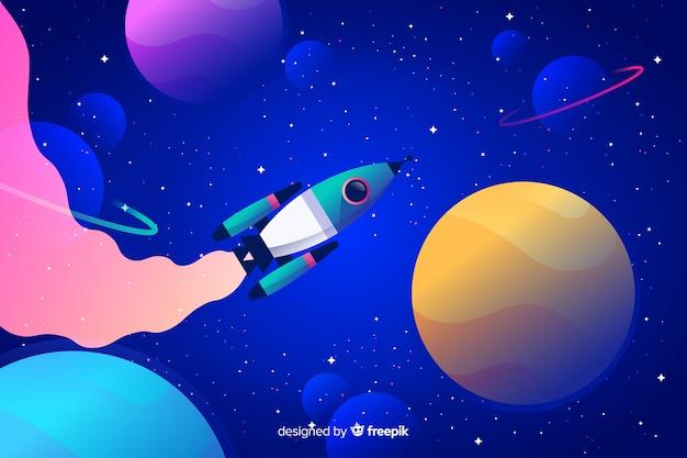 Kleurrijke gradiëntruimte met een raketachtergrond