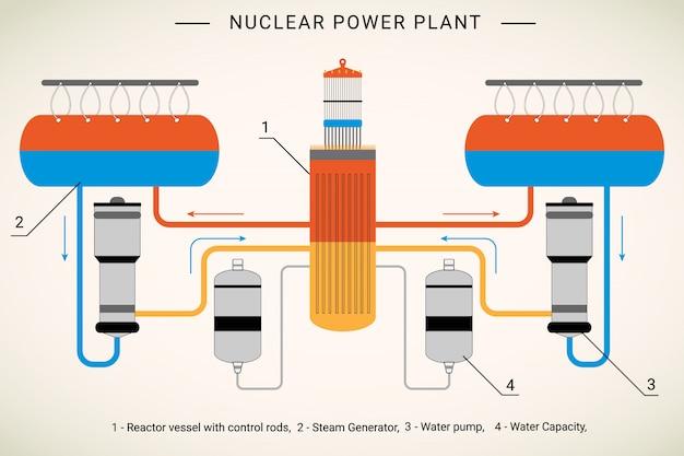 Kleurrijke grafische verklarende stadia van een kernreactor