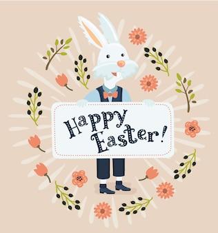 Kleurrijke grappige illusration gelukkige pasen-groetkaart met konijn