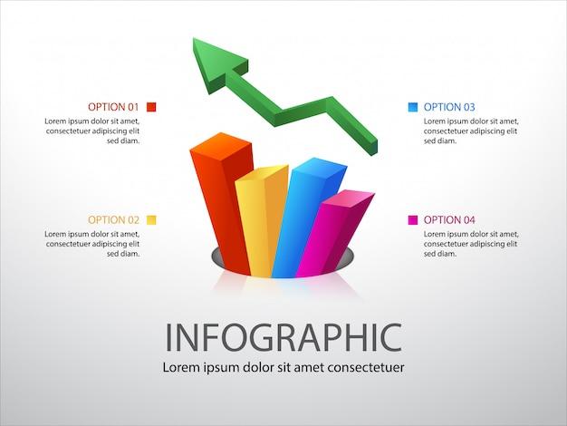 Kleurrijke groeimeter infographic met 4 opties of stappen en plaats voor tekst