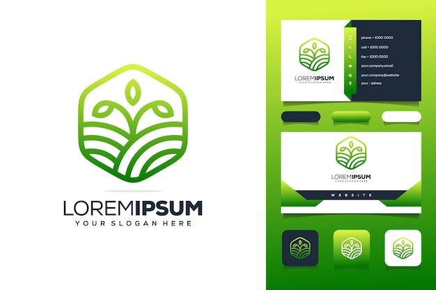 Kleurrijke groene boerderij logo sjabloon visitekaartje