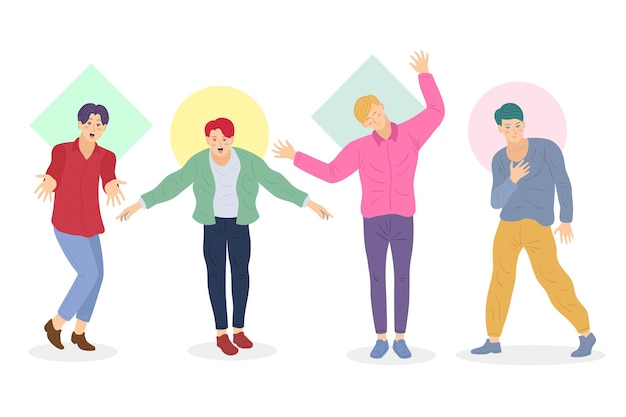 Kleurrijke groep k-pop jongens