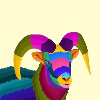 Kleurrijke grote hoorn schapen popart vectorstijl