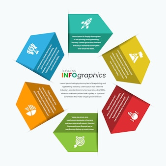 Kleurrijke grote pijl zoals infographic sjabloon