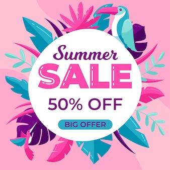 Kleurrijke grote zomer verkoop met bladeren en vogels