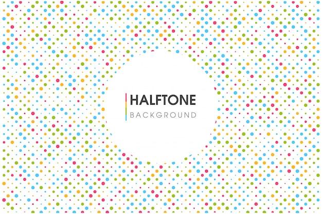 Kleurrijke halftone cirkel achtergrond met een ronde tekstvak.