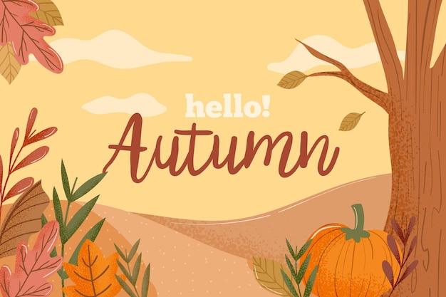 Kleurrijke hallo herfst achtergrond