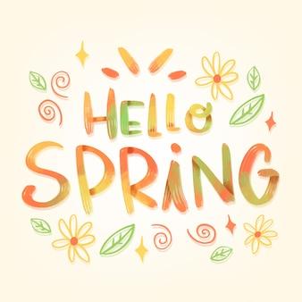 Kleurrijke hallo lente belettering