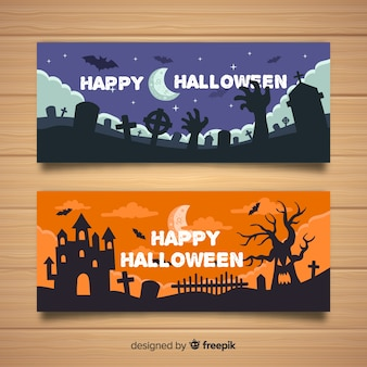 Kleurrijke halloween banners met platte ontwerp