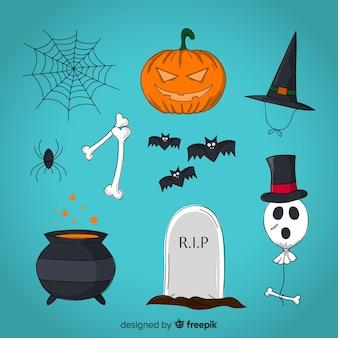 Kleurrijke halloween-elementeninzameling met vlak ontwerp