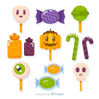 Kleurrijke halloween snoep collectie met platte ontwerp