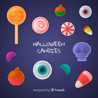 Kleurrijke halloween-snoepcollectie met realistisch ontwerp