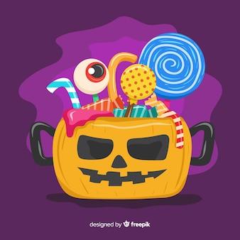 Kleurrijke halloween-snoepzakachtergrond