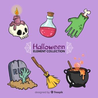 Kleurrijke hand getekend halloween-elementen collectie
