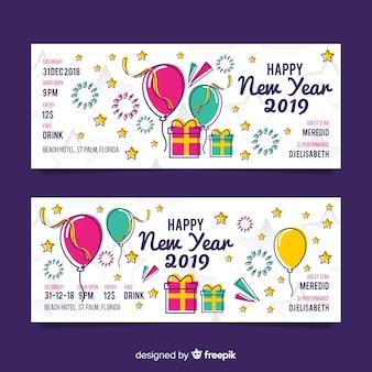 Kleurrijke hand getekend nieuwjaar partij banners