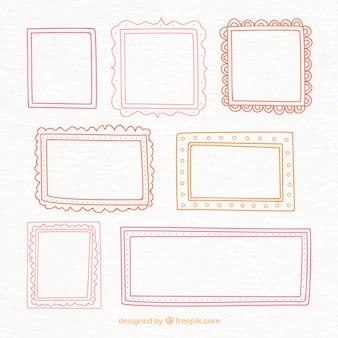 Kleurrijke hand getekende frames