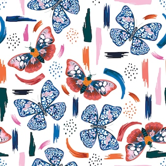 Kleurrijke hand getekende vlinders met artistieke penseelstreken naadloze patroon vector eps10, design voor mode, stof, textiel, behang, dekking, web, inwikkeling en alle prints op wit