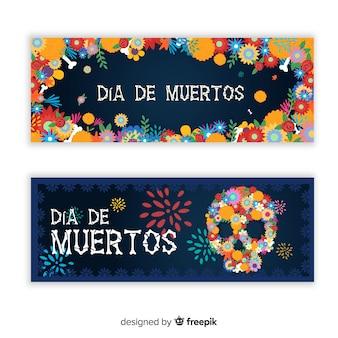 Kleurrijke hand getrokken día de muertos banners