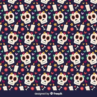 Kleurrijke hand getrokken día de muertos patrooninzameling