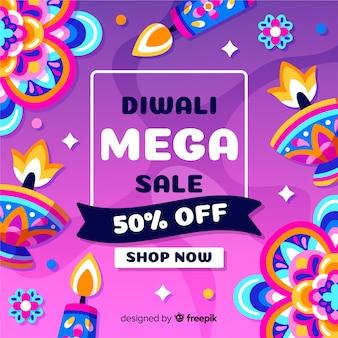 Kleurrijke hand getrokken diwali verkoop