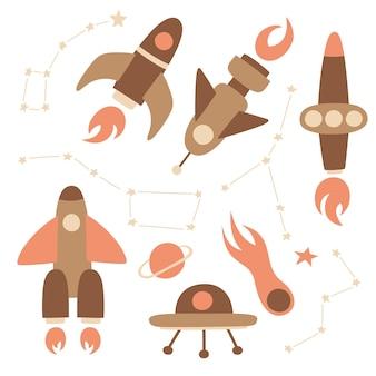 Kleurrijke hand getrokken doodles cartoon set raketten en ruimtevoorwerpen. sterrenbeelden cassiopeia, grote beer, kreeft, kleine beer.
