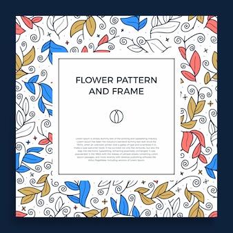 Kleurrijke hand getrokken floristische frame grens met delicate blad, takken, planten met vierkante geometrische vorm