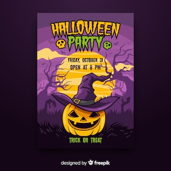 Kleurrijke hand getrokken halloween-partijaffiche