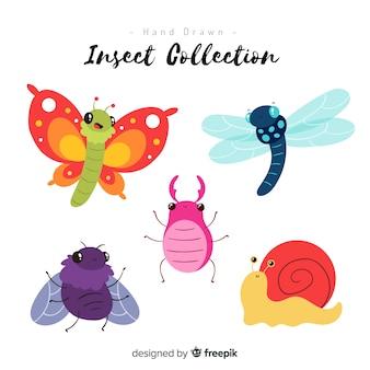 Kleurrijke hand getrokken insectencollectie