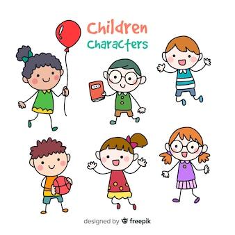 Kleurrijke hand getrokken kindereninzameling