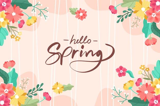Kleurrijke hand getrokken lente achtergrond