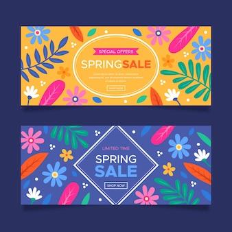 Kleurrijke hand getrokken lente verkoop banners