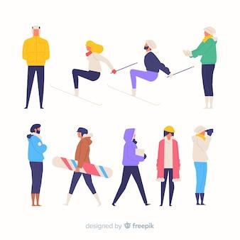 Kleurrijke hand getrokken mensen die verschillende acties doen