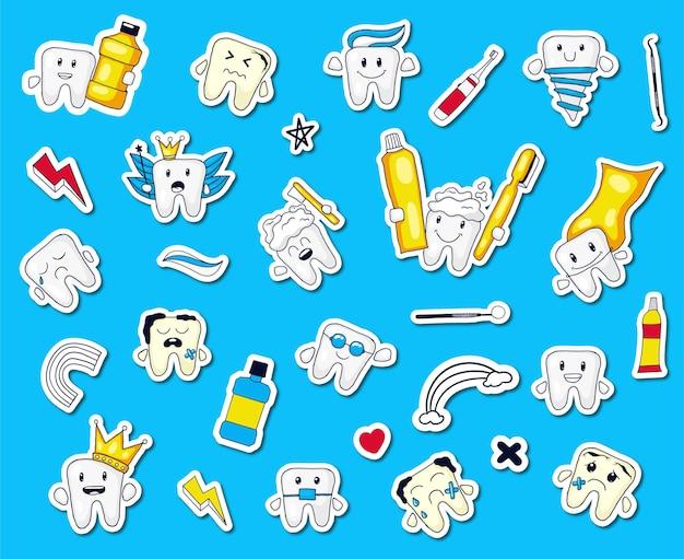 Kleurrijke hand getrokken tanden expressie sticker collectie