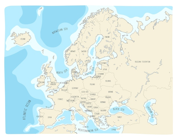 Kleurrijke hand getrokken vectorkaart van europa