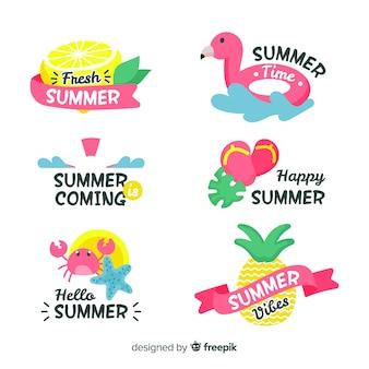 Kleurrijke hand getrokken zomer badge collectie