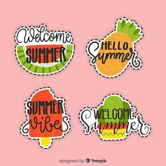 Kleurrijke hand getrokken zomer sticker collectie
