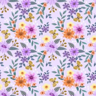 Kleurrijke hand tekenen bloemen naadloos patroon