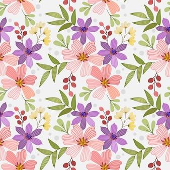 Kleurrijke hand tekenen bloemen naadloze patroon