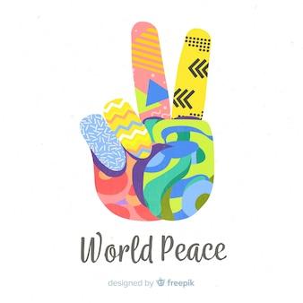 Kleurrijke hand vredesteken achtergrond