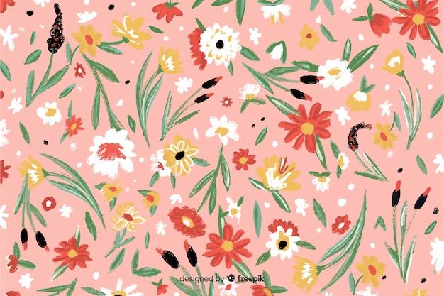 Kleurrijke handgeschilderde bloemen achtergrond