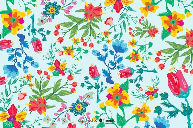 Kleurrijke handgeschilderde bloemenachtergrond