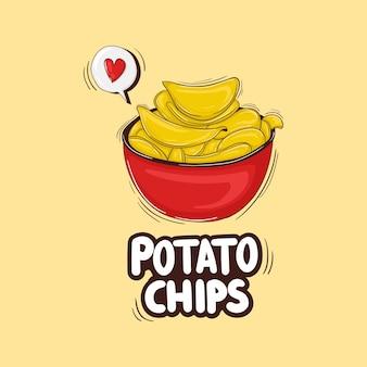 Kleurrijke handgetekende aardappelchips illustratie