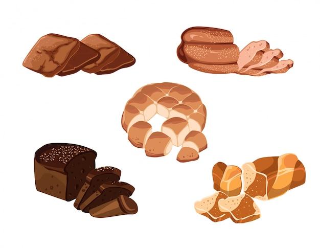 Kleurrijke handgetekende bakproducten set