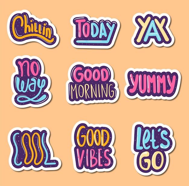 Kleurrijke handgetekende belettering stickers collectie