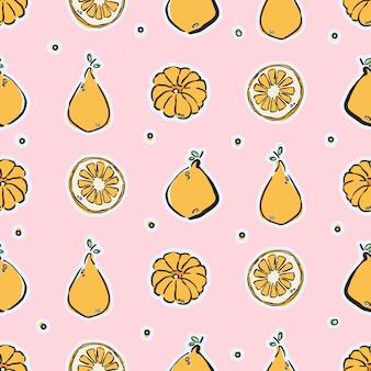 Kleurrijke handgetekende citroenen en mandarijnen in naadloos patroon