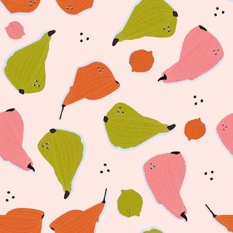 Kleurrijke handgetekende citroenen en peren in vector naadloze patroon