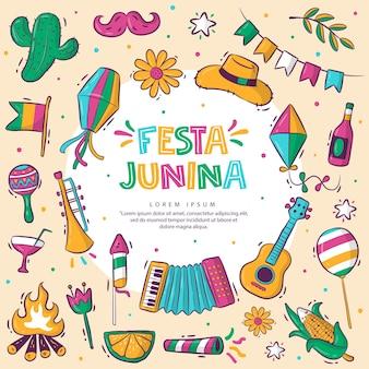 Kleurrijke handgetekende collectie festa junina