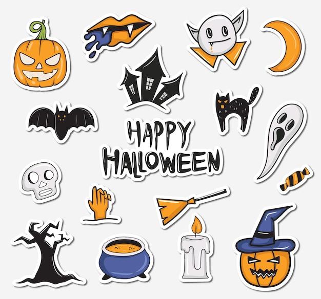 Kleurrijke handgetekende halloween-stickerscollectie