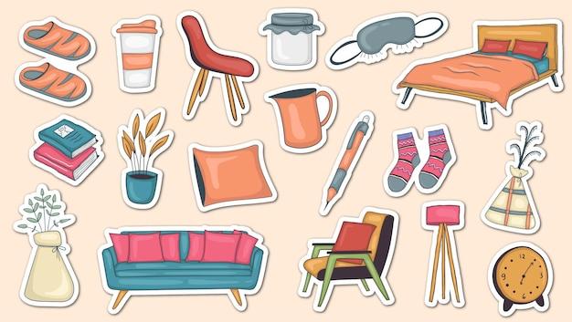 Kleurrijke handgetekende hygge stickers collectie